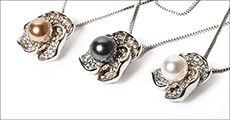 Halskæde m/hvidguldsbelagt vedhæng, østrigske krystaller, ferskvandsperle, Beautidesign, værdi 498
