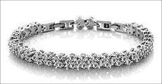 Prinsesse-armbånd m/3 mm. krystaller, inkl. fragt, værdi kr. 499