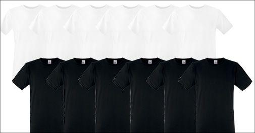 6 stk. Fruit of the Loom herre T-shirts, sort eller hvid, inkl. fragt, værdi kr. 449,-