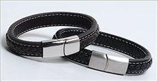 Håndsyet armbånd i ægte læder forhandlet fra Beautidesign.dk, værdi kr. 698,-