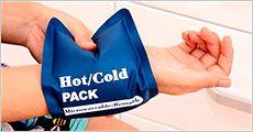 Gel-omslag, 1 til varmt og 1 til koldt, til brug ved lindring af smerter mm. Inklusiv fragt, værdi kr. 279