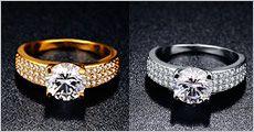 Damering m. zirkonia-krystaller fra Modane.dk, vælg ml. 18 karat guld-belagt eller hvidguld-belagt, værdi kr. 629,-