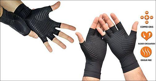 1 par Gigt handsker med kobber og kompression, inkl. fragt, værdi kr. 249,-