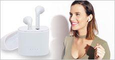 1 par trådløse bluetooth earbuds med opladningsboks, hvid eller sort, værdi kr. 399,-