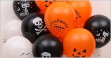 10 stk. blandede runde almindelige Halloween balloner samt valgfri special ballonpakke, værdi kr. 278,-