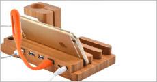 1 stk. ladestation i bambus til mobil, tablet m.m. forhandlet fra Shoppio, normalværdi kr. 379,-