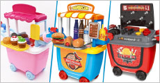 Køb legetøj til børn fra 3 år og opefter, vælg ml. isbod, pølsevogn og værktøjsbænk. Forhandlet fra Pixojet, værdi kr. 299,-