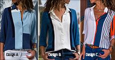 Køb 1 stk. smart dameskjorte forhandlet fra Shoppio, vælg ml. 5 flotte geometriske designs, værdi kr. 259,-