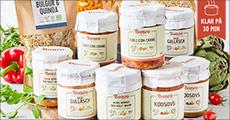 Lækre forrådskasser fra Bonzo. Vælg mellem temaerne Vegansk, Kød eller Klima, værdi op til kr. 590,- Levering er gratis.