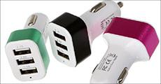 Køb 1 stk. Triple bil-lader med 3 USB-porte fra Smileyphone, vælg ml. 3 farver, værdi kr. 139,-