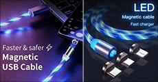 3 i 1 magnetisk LED opladerkabel med USB og 360 graders rotation. Fås i flere farver. Værdi kr. 219,-